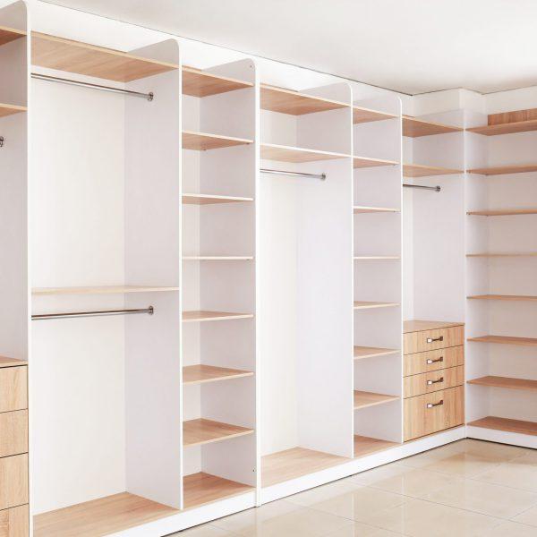 Big empty wardrobe in dressing room